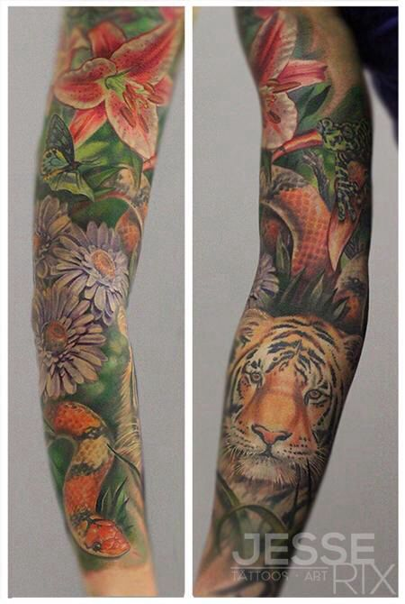 Jungle Sleeve Tattoo Jungle Tattoo Nature Tattoo Sleeve Floral Tattoo Sleeve