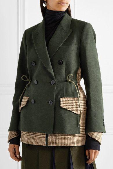 Sacai | Piqué and houndstooth wool blazer | NET-A-PORTER.COM