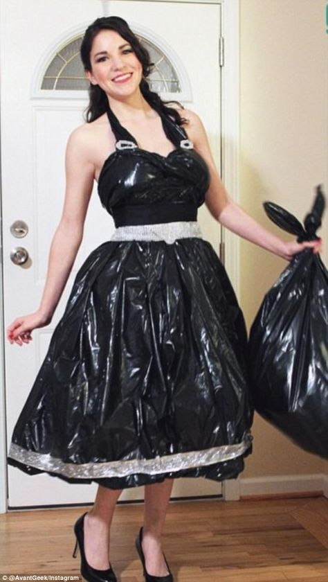 Dressin' trashy! The designer also made a dress completely from trash bags and silver ribbon, even adding a halter neckline and a bedazzled belt