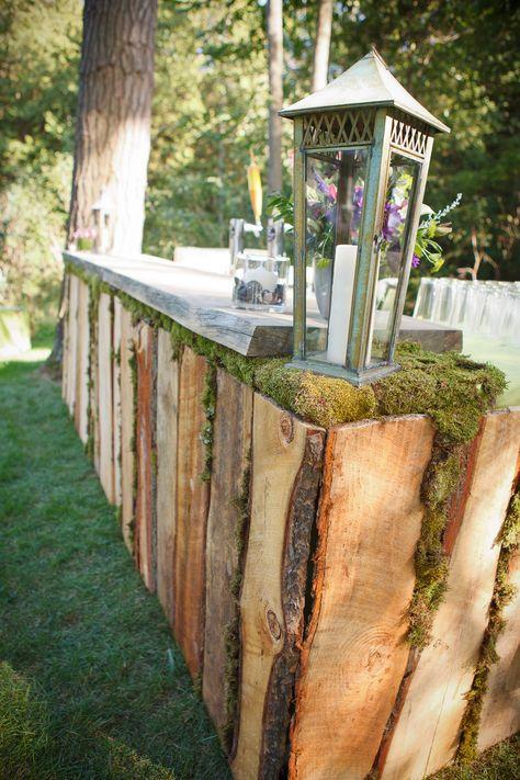 gorgeous handmade wooden outdoor bar