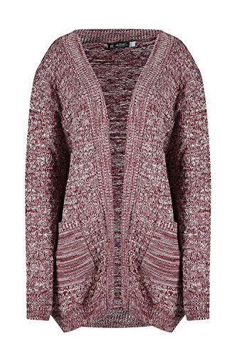 Womens Cable Knit Boyfriend Pocket Top Ladies Chunky Waffle Open Front Cardigan