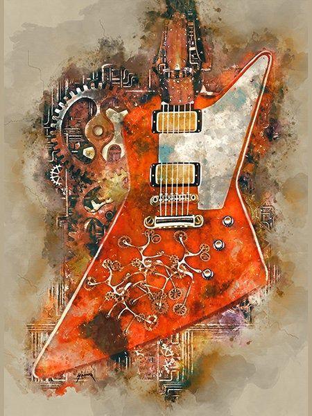 The Edge S Steampunk Guitar 12x16 Guitar Wall Art Rock And Roll Art Electric Guitar Music Decor Guitar Gifts Music Poster In 2020 Steampunk Guitar Guitar Wall Art Music Poster