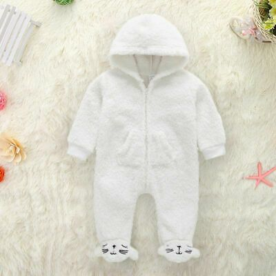 Kids Baby Boy girl Warm Infant Romper Jumpsuit Bodysuit Hooded Clothes Outfit 1