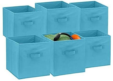 Foldable Cube Storage Bins 6 Pack These Decorative Fabric Storage Cubes Are Collapsible And Great Organizer For Shelf Closet Or Underbed Convenient For Cl In 2020 Fabric Storage Cubes