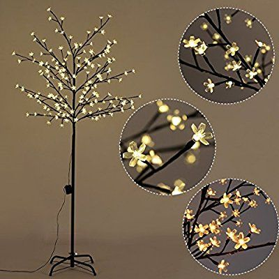 Amazon Com Goplus Cherry Blossom Lighted Tree Led Floor Lamp Warm White For Christmas Tree Party Led Christmas Tree Lights Cherry Blossom Light Tree Led Tree