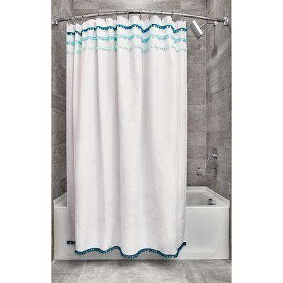 Highland Dunes Domingo Pom Pom Single Shower Curtain Fabric