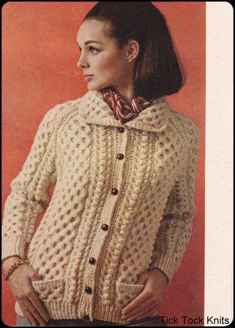 e7ff03930 No.180 PDF Knitting Pattern Vintage Women s A True Aran Cardigan Richly  Cabled w
