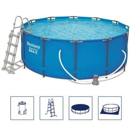 Bestway Zwembadset Steel Pro Max Rond 366x122 Cm 56420 In 2020 Bovengrondse Zwembaden Zwembaden En Blauw