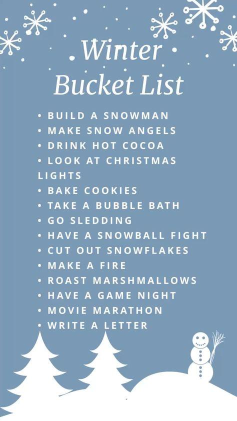 Bucket List for Winter #bucketlist #holiday #christmas #goodidea #snow