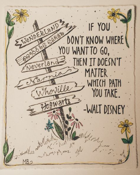 PRINT Walt Disney Quote, Deco Art Ink Illustration, Alice In Wonderland, Middle Earth, Neverland, Narnia, Whoville and Hogwarts Sign 4x5 by MaggieBodle on Etsy
