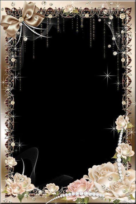 Flower photo frame psd with roses #photoframe