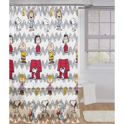 From Jay Franco Add A Fun And Colorful Touch To Your Bathroom With The Peanuts Shower Curtain Designed With The Entire Shower Curtain Curtains Peanuts Gang