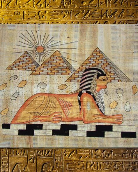 #Fairtrade Handpainted #Egyptian Papyrus - The Sphinx