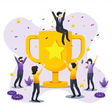 El Concepto De Exito Del Equipo De Negocios Las Personas Que Celebran El Exito Con El Liderazgo De La Asociacion De Logros De Trofeo De Oro Gigante Pueden Utili Team Success