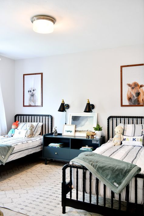 Simple Shared Boys Room - arinsolangeathome Check out this modern shared boys room that is simple and uses space perfectly. All details and so Modern Boys Rooms, Shared Boys Rooms, Shared Bedrooms, Big Boy Bedrooms, Boys Bedroom Decor, Boy Rooms, Toddler Boy Bedrooms, Girls Bedroom, Boy And Girl Shared Bedroom