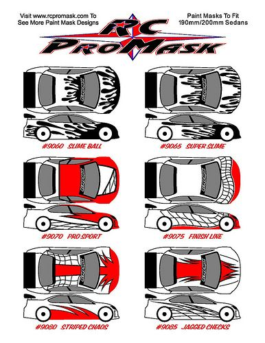 RC PROMASK COMPLETE PAINT MASK DESIGNS BACKGROUND FX CHARACTERS - Custom vinyl decals for rc carsimages of cars painted with flames true fire flames on rc car