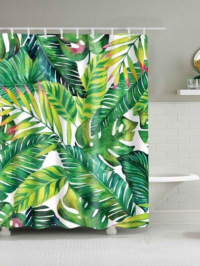 Tropical Leaf Print Shower Curtain With 12pcs Hook Curtain190301807 32 00 Cutesho Shower Curtain Decor Banana Leaf Shower Curtain Fabric Shower Curtains