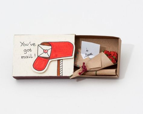 Valentines Card - Matchbox card - Customized Card - Youve got mail - Detailed Handmade Gift - COMES WITH BOUQUET OF ROSES This listing is for one matchbox. This is a great alternative to a Anniversary card. Surprise your loved ones with a cute private message hidden in these beautifully decorated