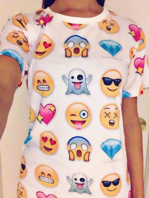 All your favorite Emojis on one dope shirt! Size: S/M unisex Fabric: Cotton, Polyester Collar: O-Neck