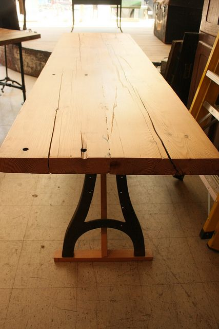 Amazing Thick Top Slavaged Lumber Table Top With Metal Industrial A Frame Legs