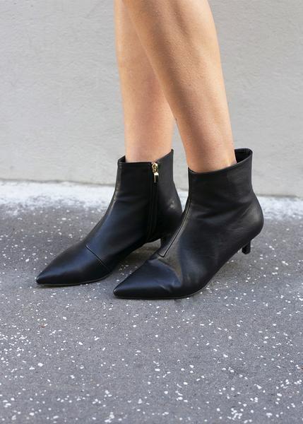 Pointed Toe Black Kitten Heel Boots The Frankie Shop Black