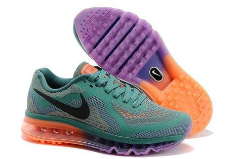 the best attitude e3aac c7f32 Nike Air Max 2014 Womens Running Shoe New Green Black-Orange-Purple