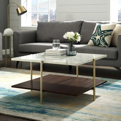 Foster White Marble Square Coffee Table With Gold Legs Furniture123 In 2020 Coffee Table Modern Square Coffee Table Coffee Table Square