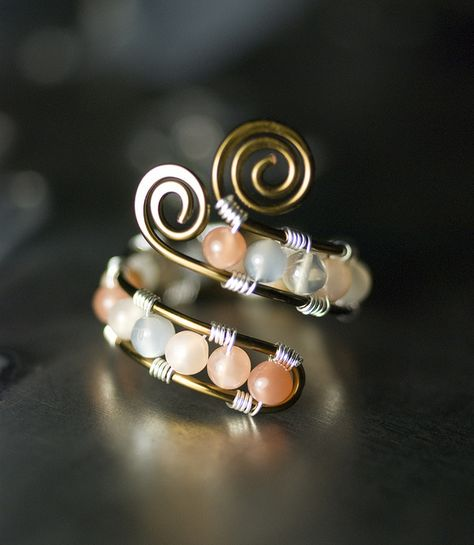 Multi-colored Moonstone Vintage Bronze Copper Ring by Moss & Mist Jewelry by Moss & Mist Jewelry, via Flickr