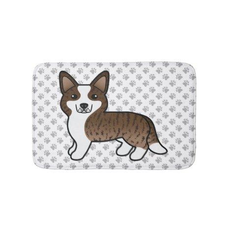 Brindle Cardigan Welsh Corgi Cartoon Dog Bath Mat Zazzle Com