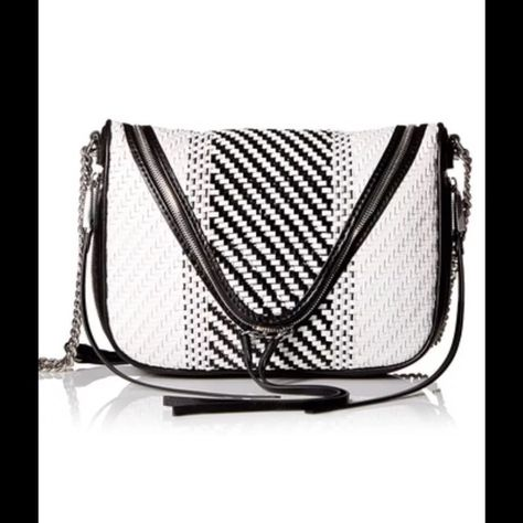 06dc1f7ef2 She + Lo Black White Leather Saddle Crossbody Bag She + Lo black and white  weave leather Make Your Mark zip crossbody bag. New with tags. Two tone  crossbody ...