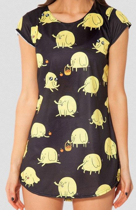 Camiseta chica Trompi. Hora de Aventuras Simpática camiseta que, por su medida podrás usar como mini vestido. Inspirada en uno de  los personajes de la serie animada Hora de Aventuras, Trompi.