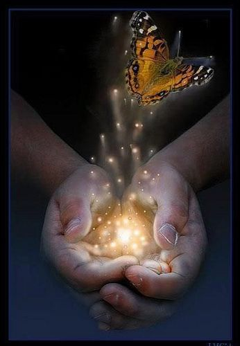 Reiki Hands with energy and emerging butterfly