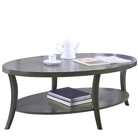 Oval Coffee Table Wood With Shelf For Storage Accent Table
