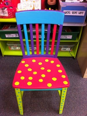 """Reserved only for a student on his or her best behavior, this """"special"""" chair could become for students a motivational tool to do their best. In addition to making them feel special, sitting in this chair would make the students feel good about themselves. The chair could also be used for students to show their best work."""