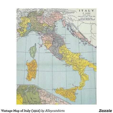 Vintage Map Of Italy 1912 Fleece Blanket Fleece Blankets Italy