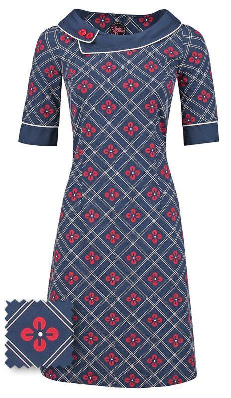 Tante Betsy Viola Kleid Dunkelblau Rot Und Weiss Bedrucktes Kleid Blumendruck Bedrucktes Betsy Dunkelblau Kleid Tante Kleider Kleidung Vintage Kleider