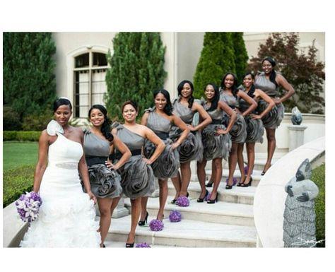 Purple Lavender Silver Grey Wedding Bridesmaid Invera Wang Side