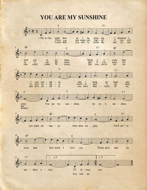 You Are My Sunshine Music Artwork Sheet Music Home Decor Clarinet Sheet Music, Easy Piano Sheet Music, Violin Music, Free Flute Sheet Music, Music Sheets, Vintage Sheet Music, Free Printable Sheet Music, Drums Sheet, Free Piano Sheets