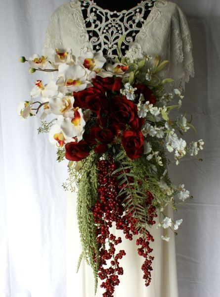 Red Rose And Orchid Stylized Bridal Bouquet Flower Bouquet