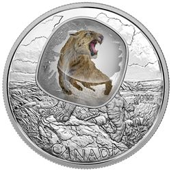 2018 Scimitar Sabre-Tooth Cat Frozen in Ice $20 1OZ PureSilver Proof Coin Canada