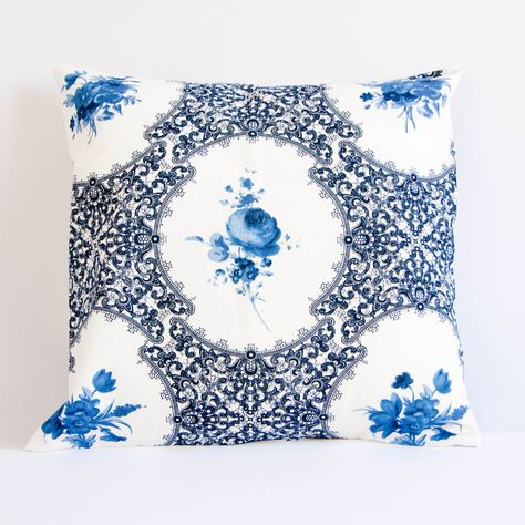 Blue Watercolor Floral Pillow Blue Grey
