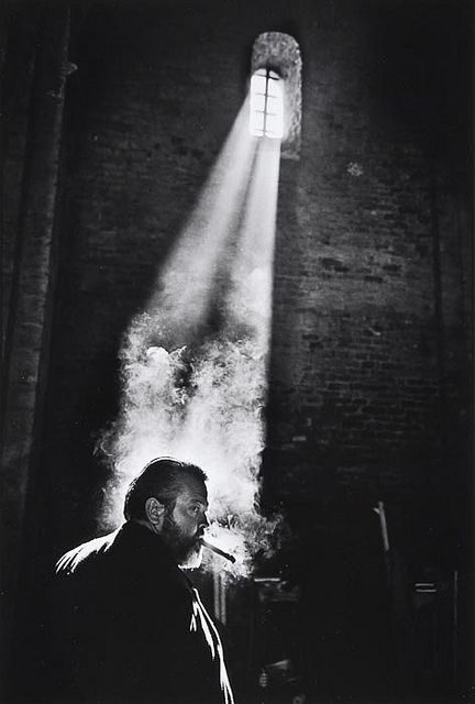 "Orson Welles during the filming of ""Chimes at Midnight"", Spain, by Nicolas Tikhomiroff. [""Chimes at Midnight"" also known as ""Falstaff"" or ""Campanadas a medianoche"" (Orson Welles,"