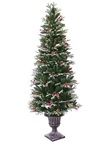 Abusa Pre Lit Potted Pencil Christmas Tree 6 5 Ft Frosted Https Www Amazon Com Dp B074n1krgc Re Pencil Christmas Tree Slim Xmas Tree Christmas Decorations