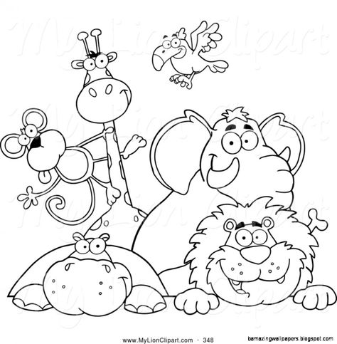 Zoo Animals Clipart Black And White Animal Coloring Pages Zoo Coloring Pages Animal Coloring Books