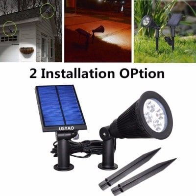 Usyao Solar Powered Led Spot Light Ip44 Waterproof Separated Panel And Light Solar Spot Lights Modern Outdoor Lighting Led Spotlight