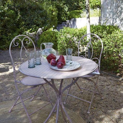 Image Table Ronde De Jardin En Metal Rose Poudre La Redoute