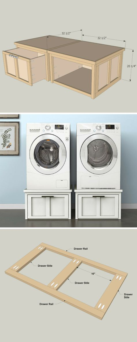 Add storage space to your laundry room without taking up floor space. These pedestals support your washer and dryer, and have big built-in drawers that will swallow up lots of laundry supplies. The pedestals are sturdy, and not at all tough to build. These instructions show how to build a pair. Get the free DIY plans at buildsomething.com
