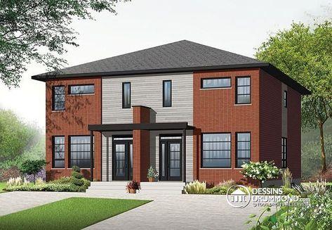 59 best Modèles de maison Jumelée, Plans de Duplex, Plans de Triplex - Facade Maison Style Moderne