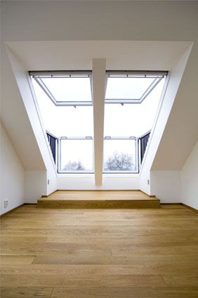 A double VELUX CABRIO balcony installation in this loft conversion adds more value to the property, as well as a stunning feature. Via VELUX.  This is what we need!