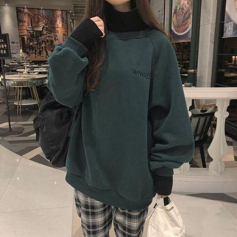 Embroidery Simple Casual Chic Streetwear Sweatshirt - dark green regular / L